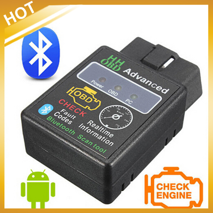 HH OBD MINI Diagnostic Tool ELM327V2.1 Black Bluetooth OBD2 Car CAN Wireless Adapter Scanner TORQUE ANDROID,Free Shipping(China (Mainland))