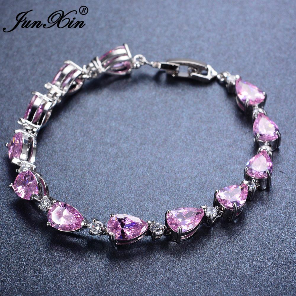 romantic pink aaa zircon charm bracelet white gold filled