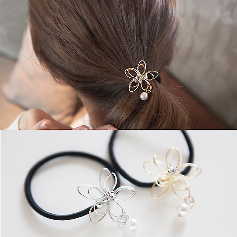 2016 New Elastic Ponytail Hair Tolder Rhinestone Hollow Flower Hair Tie For Women Scrunchies Hair Accessories Elastic Hair Band(China (Mainland))