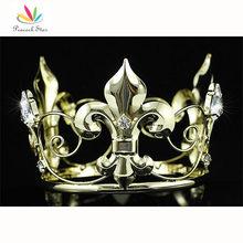 Free Shipping Wholesale Baby / Flower Boy Mini Crown Crystal Full Circle Round Gold Tiara CT1757(Hong Kong)