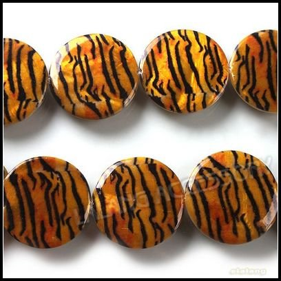 3 Strings/Lot, Wholesale Disc Tiger Stripes Shell Beads Natural Loose Shell Animal Print Shell Beads 25mm 111506(China (Mainland))