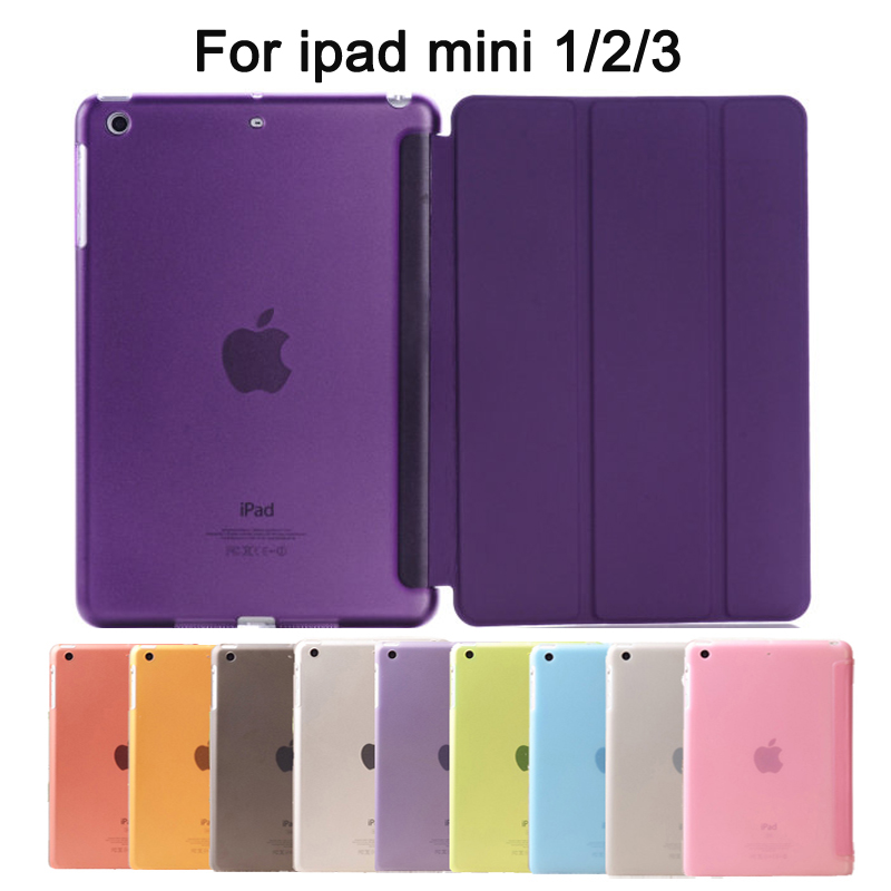 Tablet PC Case Ultra Slim Magnetic Smart Cover Leather Case with Matte back case for Apple