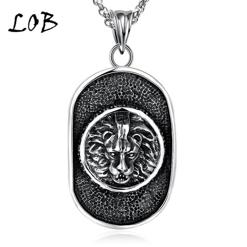 Vintage Jewelry Titanium 316L Stainless Steel Necklaces For Men Lion Shaped Punk Style Pendant Necklace Wholesale N076(China (Mainland))