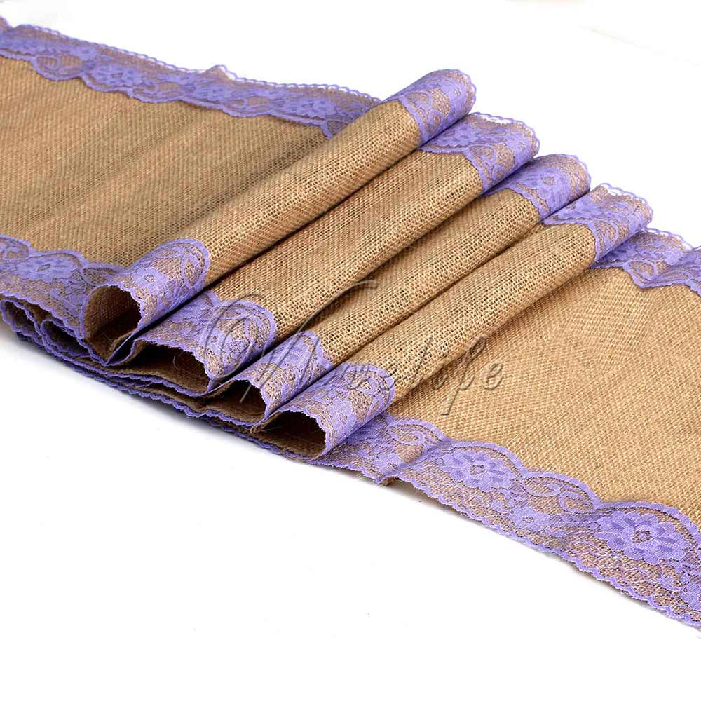 30cmx275cm Lavender Natural Vintage Burlap Lace Hessian Table Runner Wedding Party Decor Free Shipping(China (Mainland))