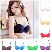 Gather sexy bra thicken padded lace cheap push up t-shirt bra for Young girl sexy 1/2 cup bra for women underwire bra H093