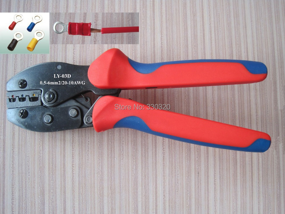 Ratchet terminal crimping tool/plier for crimp insulated terminal and connector 0.5-6mm2 LY-03D(China (Mainland))