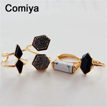 Geometric black stone accessories fashion gold colors zinc alloy anel rings for lady mujer authentic retro jordans bijuteria(China (Mainland))