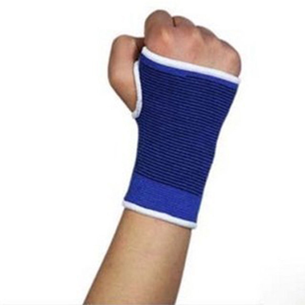 100 pcs Elastic Wrist Bracers Hand Support Glove Palm Brace Sleeve Bandage Sport Gym Wrap Blue(China (Mainland))