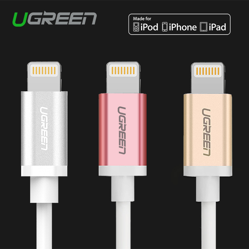 Ugreen Original 1M 1.5M 2M 8 Pin Data & Sync Charger USB Cable for iPhone 5S 5C 6 6S iPad Air 2 3 4 iOS 9 9.1 iPod Nano 3 4(China (Mainland))