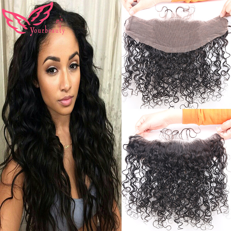 13x4 Indian Water Wave Lace Frontal Closure Bleached Knots Free Middle 3 Part Full Lace Frontal 7A 100% Human Hair Lace Frontal