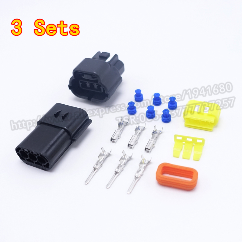 3 Sets New AMP Connector 1.8 Series Three Pins Way Male Female Auto Connector Plugs Waterproof Wholesale Shipping Fast(China (Mainland))