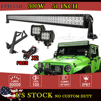 51 Inch 300W EPISTAR LED Work Light Bar Offroad Combo Beam for Jeep Wrangler JK + 2x 18W CREE Spot Beam LED Work Light +Brackets