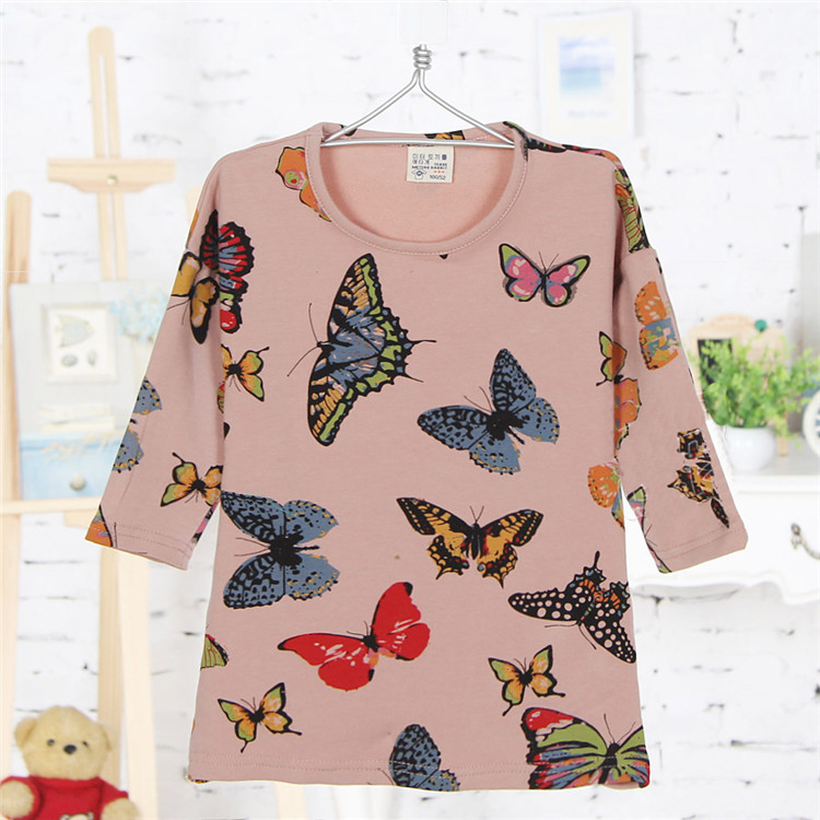 2015 spring and autumn butterfly print little girls long sleeve clothing girls basic shirts baby girls fashion T-shirts A2415(China (Mainland))