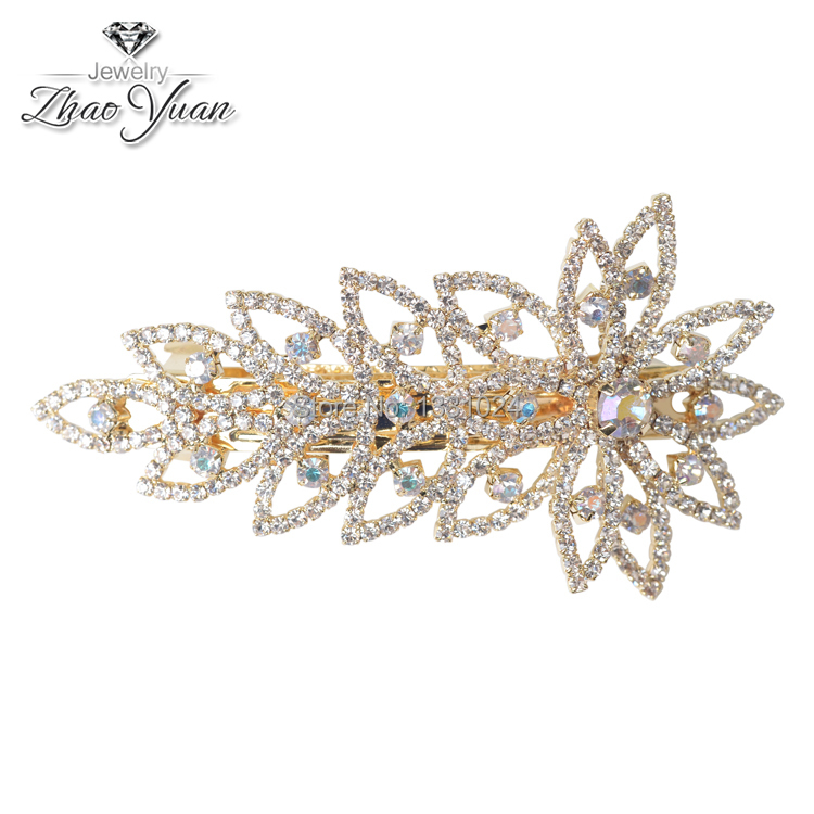 Free Shipping High Quality Leaf Shaped Crystal Hair Bijou Elegant Style Women Hair Clips Leaf Hair Bijoux For Party(China (Mainland))