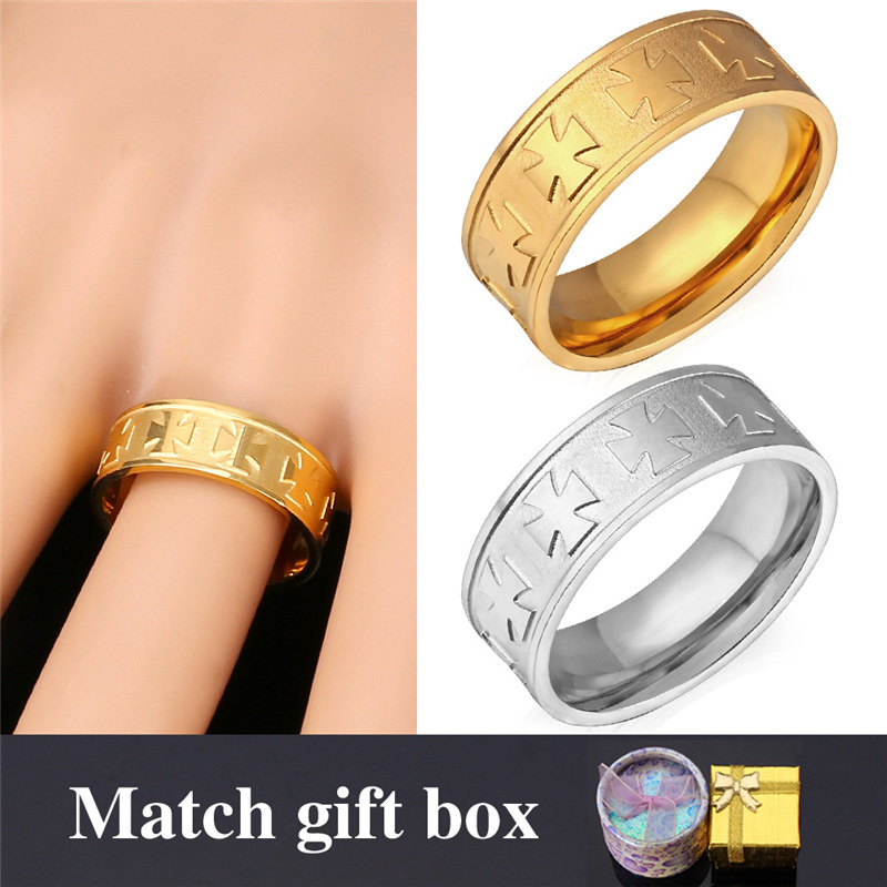 Gold Ring For Men Jewelry With Gift Box 18K Real Gold Plated New 2015 Fashion Jewelry Maltese Cross Rings Stainless Steel GR997(China (Mainland))