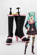 Custom made black and pink Miku Shoes boots from vocaloid Cosplay