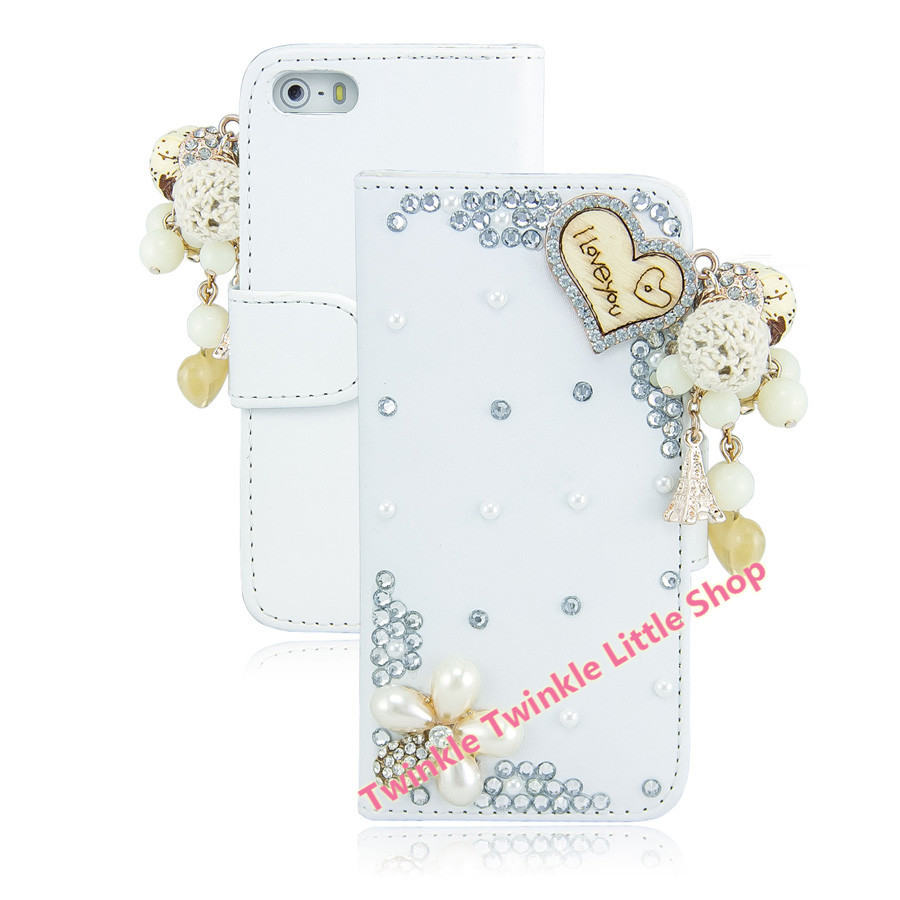 Handmade Fashionable Diamond Case Cover For iPhone5 5S Crystal Wallet Flip Leather Phone Case(China (Mainland))