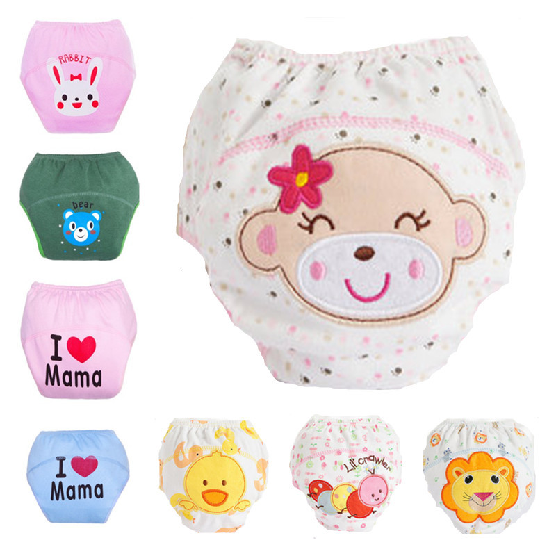 Cute Baby Cotton Training Pants Cloth Diapres Washable Reusable Baby Diapers Infants Nappies Training Diapers Learning Pants(China (Mainland))