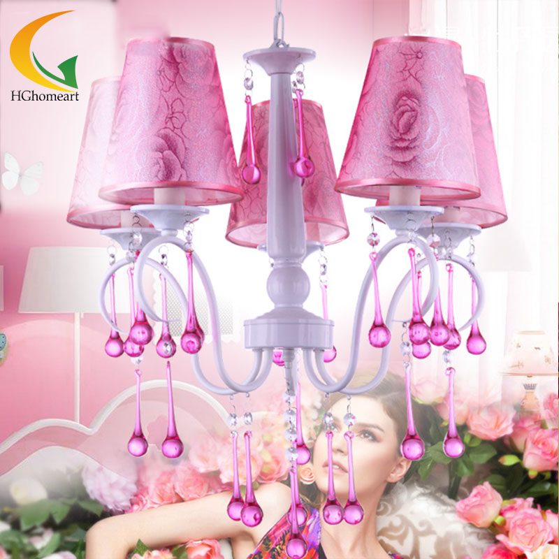 Фотография crystal drop chandelier pink peony Nordic American bedroom study chandelier dining room led lamp