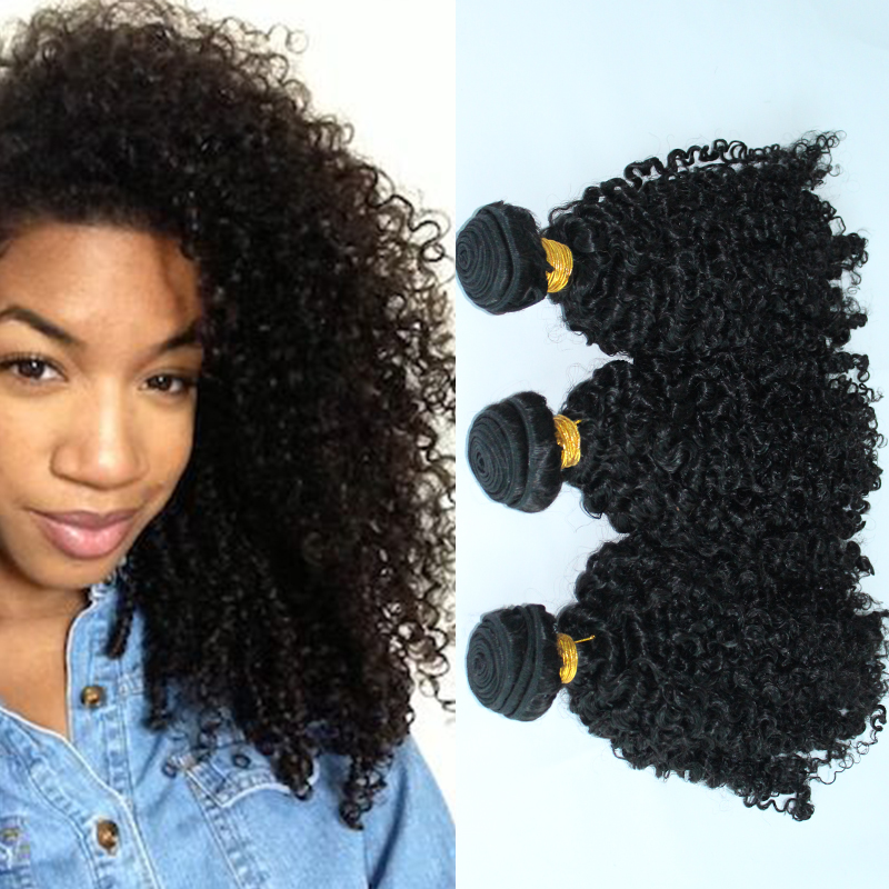 SunnyQueen hair products Monglolian virgin hair afro kinky curly 3PCS hair extension weaves natural black tight curl 5A grade