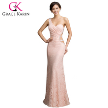 Grace Karin Female Asymmetrical One Shoulder Lace Evening Dresses Sequin Backless Formal Dress Pink Evening Gowns 2016 CL007542(China (Mainland))