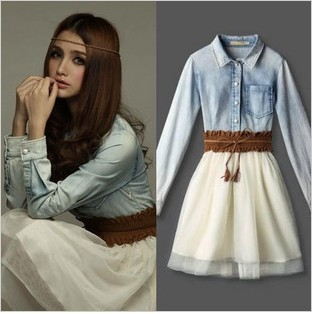 Free shipping Fashion Girls Vintage clothing Cowboy shirt long sleeve dress-inDresses from Women ...
