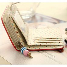 Fashion Girl Purse 6 Colors Choice Polka Dots Leather Zipper Wallet Multiple Cards Holder Wallet B9065
