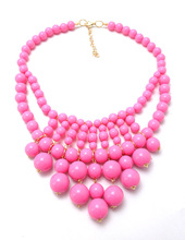 Newest fashion Beads necklace candy color pendant necklace multilayer chain necklace women pearl necklace jewelry wholesale