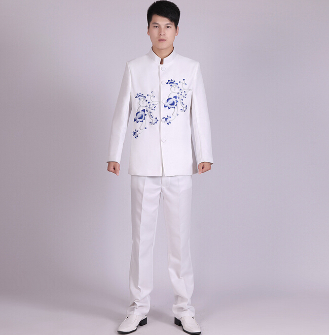 New slim tunic embroidered chinese style suit wedding