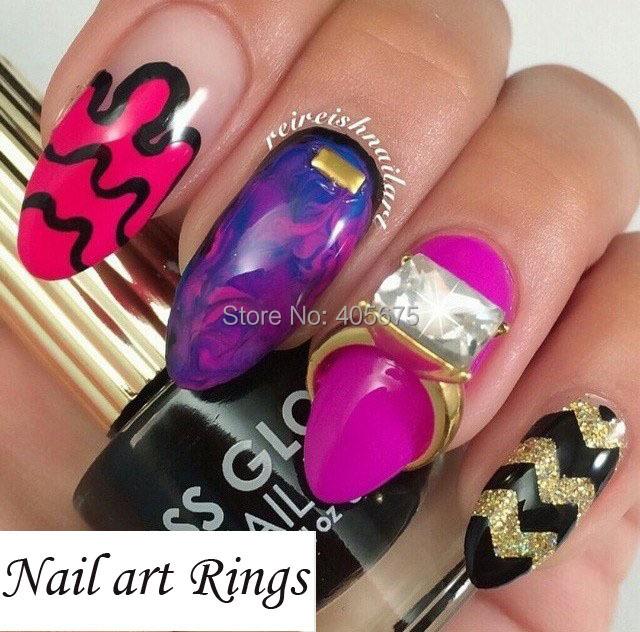 5pcs nail art RINGS glitter Square strass rhinestones nails decorations new arrive 3d nail jewelry nail art bows charms MNS743(China (Mainland))