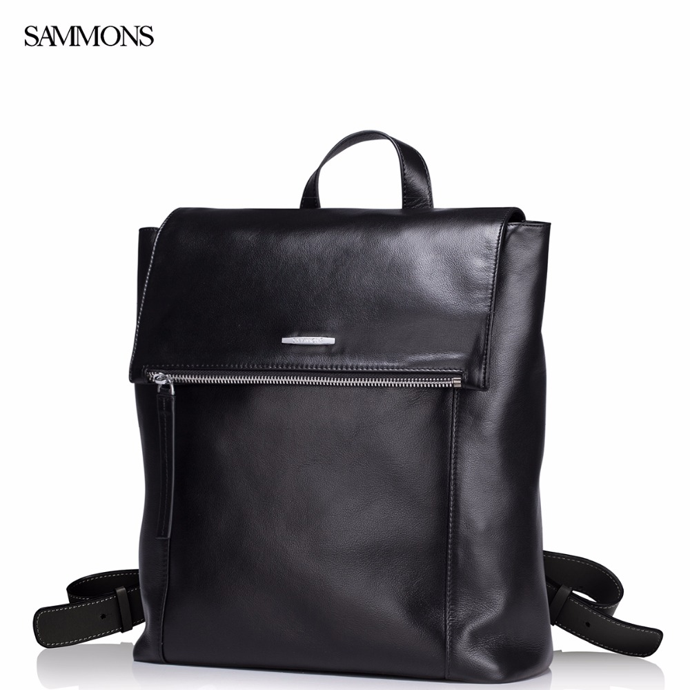 Фотография SAMMONS Brand Design New Fashoin Genuine Cow Leather Men Business Casual College Travel Backpacks Bag