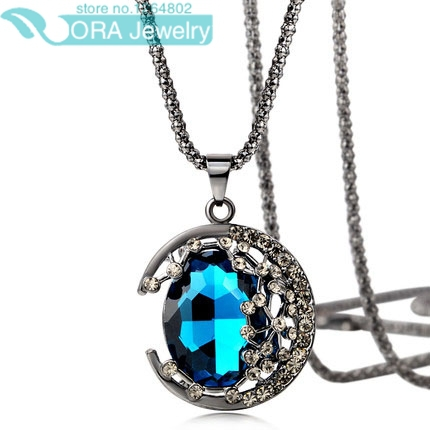2014 New Fashion Necklace Lovely Galaxy Star With Zinc Alloy Hollow Acrylic Moon Pendant Chain Necklace Best Gift Free Shipping(China (Mainland))