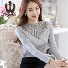 Buy Dingaozlz Lace shirt female 2017 Autumn Blusa Women lace Tops long-sleeved Patchwork Mesh Sexy Slim Hollow Chiffon blouse for $10.88 in AliExpress store