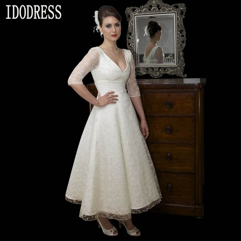 V Neck Lace Long Sleeves Simple White Short Wedding Dress