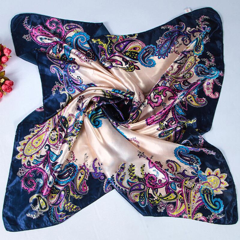 New Women Elegant Large Head Scarves Soft Silk Square Scarf Shawl Bandana S20(China (Mainland))