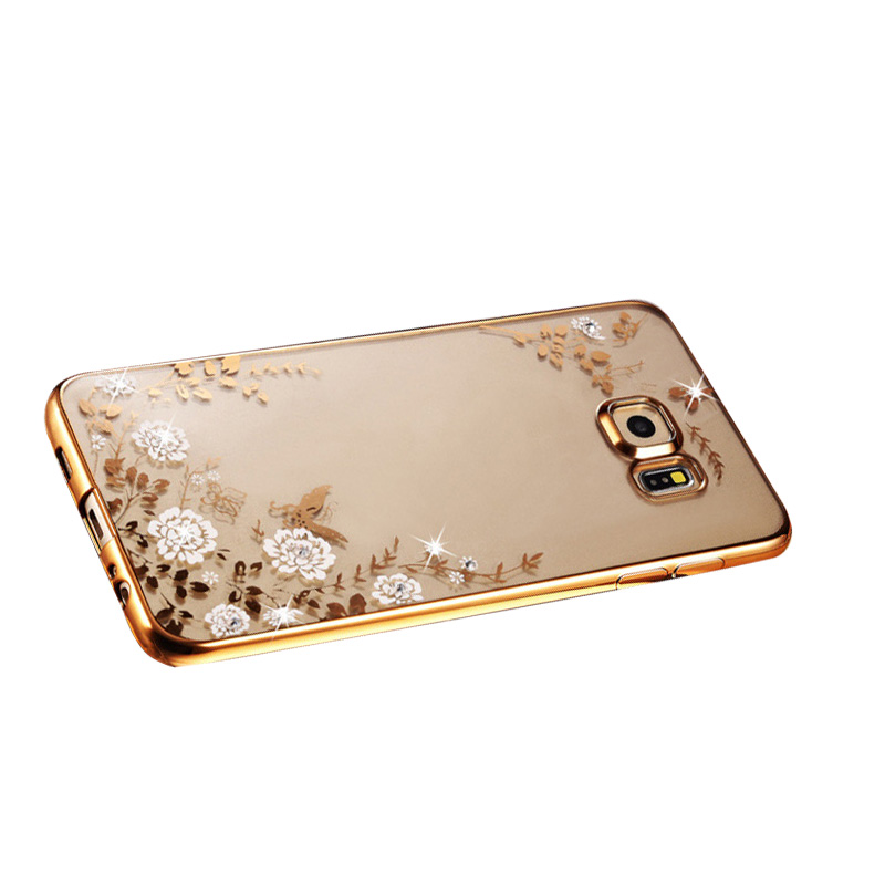 For Samsung Galaxy S7 Edge New TPU Bling Diamond Waterproof Phone Case Silicone White Flower Deco Cover Cases(China (Mainland))
