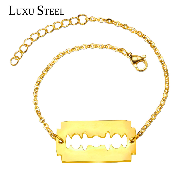 Wholesale Unisex Stainless Steel Personalized Blade Bracelets & Bangles, 18k Gold Vacuum Plated Friendship Bracelets(China (Mainland))