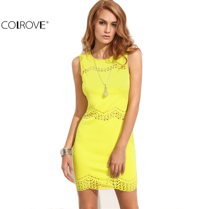 COLROVE Summer Sexy Women's Plain Yellow Cutout Sleeveless Round Neck Sheath Mini Dress Club Wear Bodycon Dress(China (Mainland))
