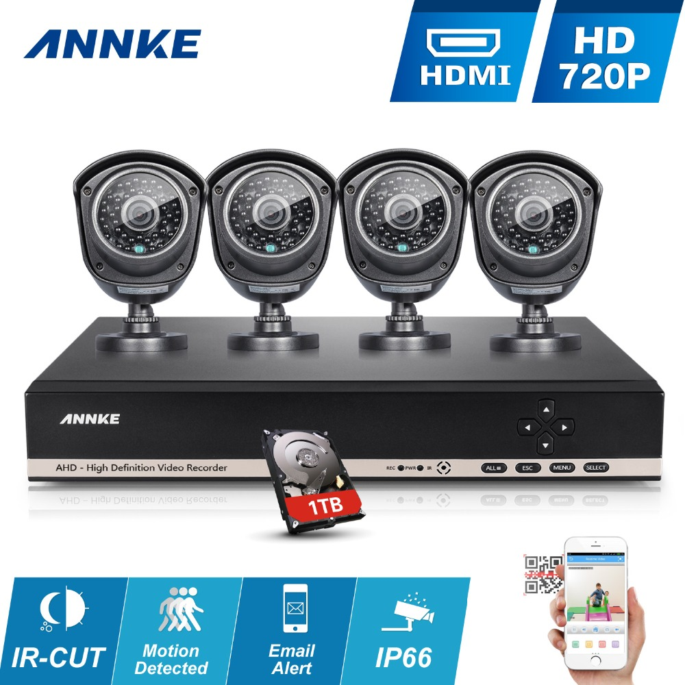 ANNKE HD 1080N 8CH CCTV camera system 4Pcs 720P Security Cameras IR outdoor 8 channel Video Surveillance kits1TB HDD(China (Mainland))