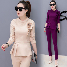 Buy Trouser Suit Women 2 piece Pants Sets 2017 Fashion Spring Autumn O-neck Long Sleeve Womens Track Suits Elegant Ladies Costumes for $27.68 in AliExpress store