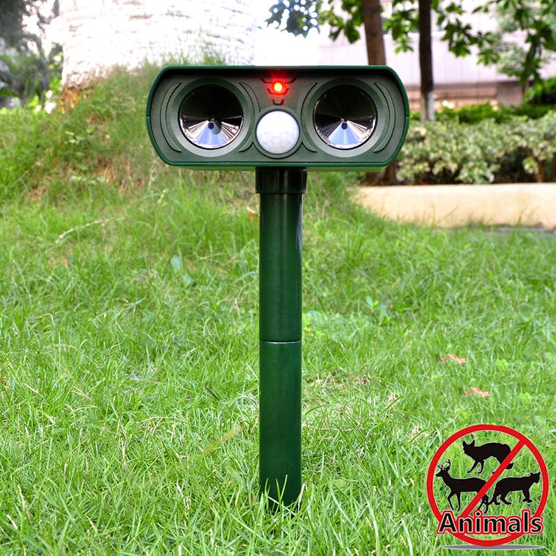 Animal Repellant Sensor Ultrasonic Garden Yard Solar Power Pests Natural Harmless Stake Effective Natural(China (Mainland))