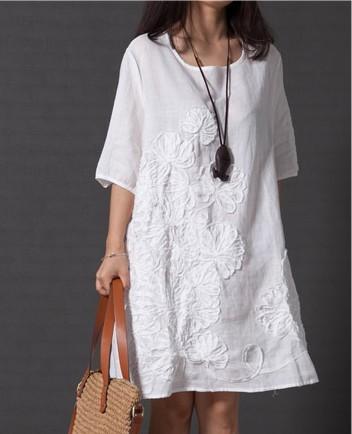 2016 summer style feminino vestido tshirt loose women for White linen dress shirt