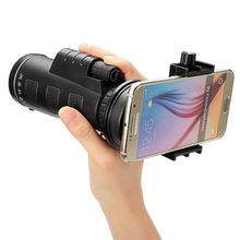 Buy Universal 10x40 Hiking Concert Telescope Camera Lens Monocular + Mobile Phone Holder Clip Smartphone Black Portable for $17.86 in AliExpress store