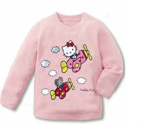 Hot Kids Girls T Shirt Fit 1-4Yrs Children Cotton Long Sleeve Tee Cartoon Baby Clothing 2 Color - sonia hu's store