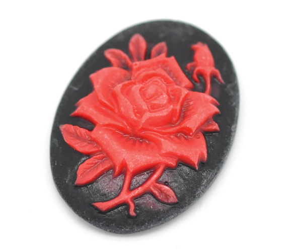 """Black & Red Resin Flower Pattern Oval Cameo Embellishment Findings 25x19mm(1""""x3/4""""), sold per packet of 50 2016 new(China (Mainland))"""