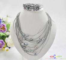 Buy wholesale 15row 13mm black rice pearl gray leather necklace & bracelet for $28.98 in AliExpress store