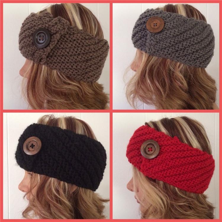 Knitted Headband Headwrap Bandana Scarf Ear Warmer Knit Head Band big Wooden Button(China (Mainland))