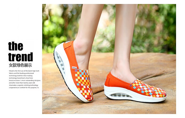 2016 New Canvas Shoes Woman Platform Flat Casual Shoes Women's  Air Shake Shoes Women Slimming Walking Shoes Chaussure Femme