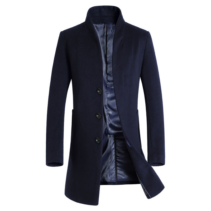 Thick Wool Coat Men 2017 Winter Brand Wool Blends Cashmere Coat Men Slim Fit Mens Pea Coat Fashion Manteau Homme Overcoat Black