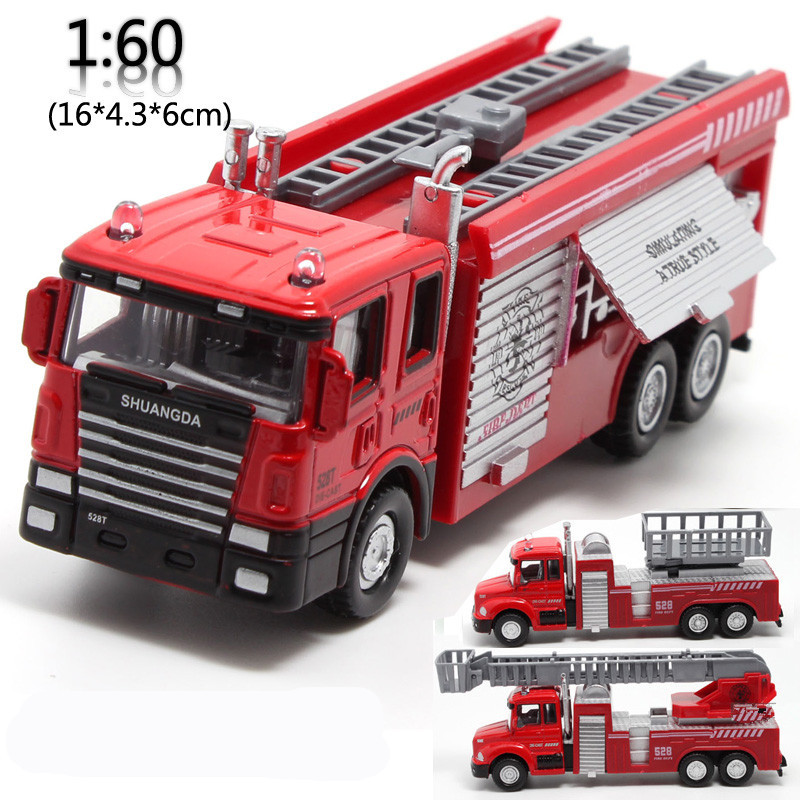 Sale 1:60 alloy fire truck, pull back toys, model cars, children's gifts, special free shipping(China (Mainland))